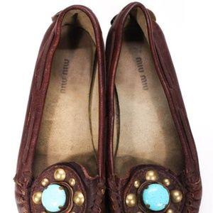 Miu Miu Shoes - Miu Miu Brown Leather Gem Loafer Moccasins 38.5